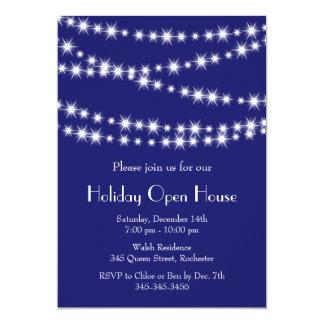 Öppet hus för glimtljushelgdag (indigoblått) 12,7 x 17,8 cm inbjudningskort