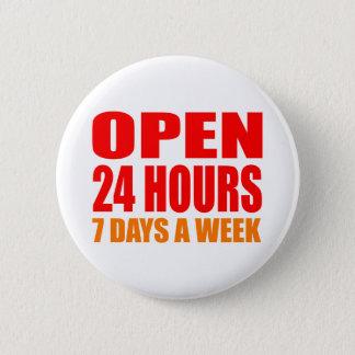Öppna 24 timmar standard knapp rund 5.7 cm