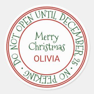Öppna inte till den December 25 julgåvan Runt Klistermärke