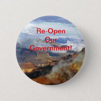Öppna vår regering om igen knäppas, klämmer fast standard knapp rund 5.7 cm
