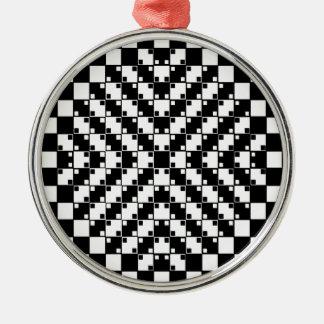 Optisk illusion i svartvitt julgransprydnad metall