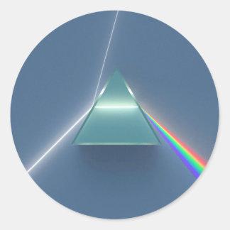 Optisk prisma som lätt bryter och reflekterar runt klistermärke