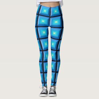 Optisk rektangulär illusionAquaabstrakt Leggings