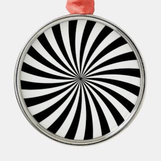 Optiskt flytta sig för illusion som är svartvitt, julgransprydnad metall