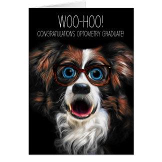 Optometrystudent med rolig hund i glasögon hälsningskort
