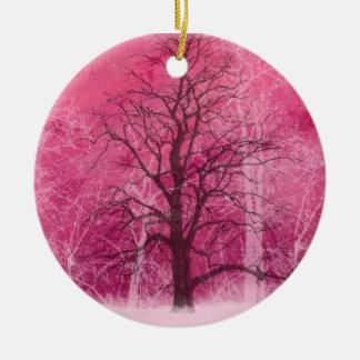 oranament för rosavinterunderland julgransprydnad keramik