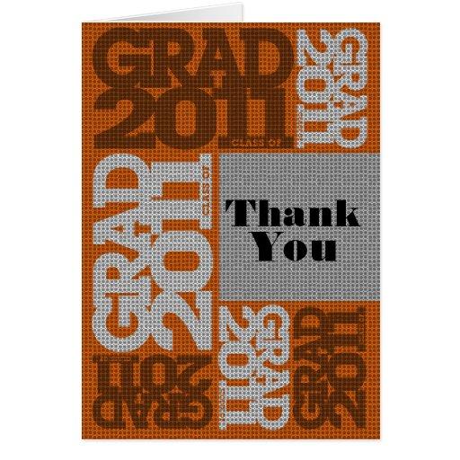 Orange 2011 för mönster för studententackkort kort