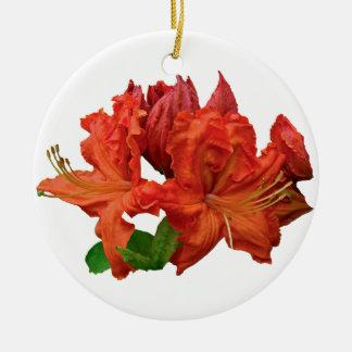 Orange Azaleablommar Julgransprydnad Keramik