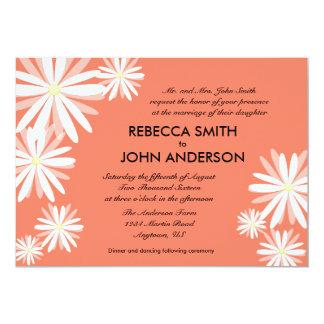 Orange bakgrund för lax & gifta sig för vitdaisy 12,7 x 17,8 cm inbjudningskort