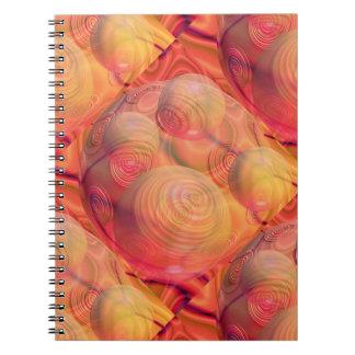 Orange bärnstensfärgad galax för inre abstrakt för anteckningsbok med spiral