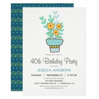 Orange blått, grön födelsedagsfest inbjudan för