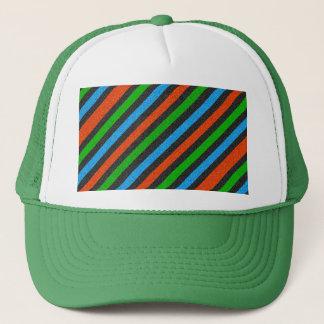 Orange blått, grönt, görat randig svart glitter truckerkeps