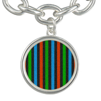 Orange blått, grönt, svart glitter randiga STaylor Berlockarmband