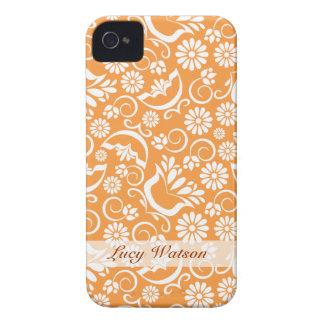 Orange blom- blackberry boldfodral för vintage iPhone 4 Case-Mate skal