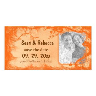 Orange blom- fotospara datum meddelande fotokort
