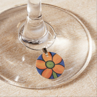 Orange blomma berlock vinglas