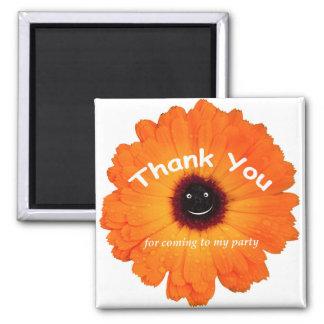 Orange blomma för tack magnet