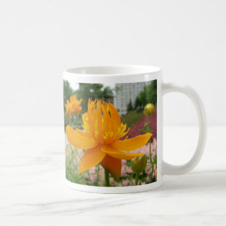 Orange blommamugg kaffemugg