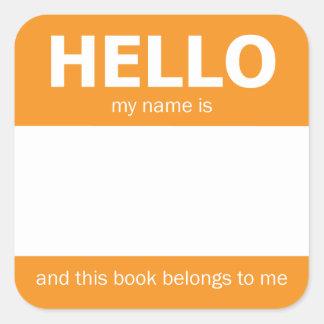 "Orange bokägarmärke ""för hej"" namnemblem fyrkantigt klistermärke"