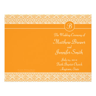 Orange bröllop beställer av tjänste- & reklamblad