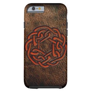Orange celtic fnurra på läder tough iPhone 6 fodral