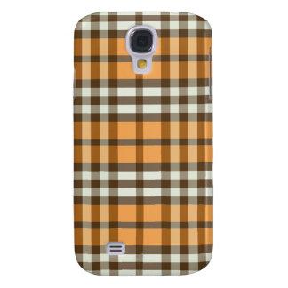 Orange-/chokladpläd Pern Galaxy S4 Fodral