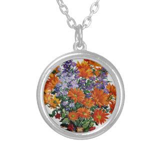 Orange Chrysanthemums Silverpläterat Halsband
