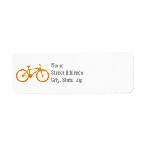 Orange cykel returadress etikett