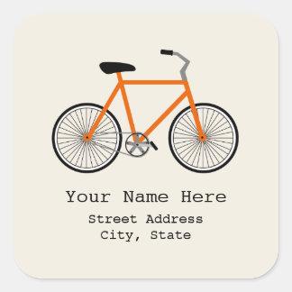 Orange cykeladressklistermärke fyrkantigt klistermärke