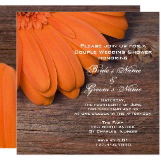 Orange daisy och Wood parmöhippa för ladugård Fyrkantigt 13,3 Cm Inbjudningskort