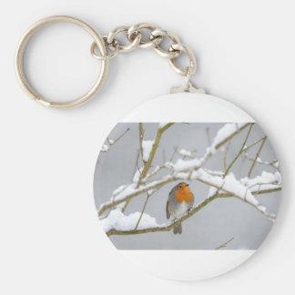 Orange Finch i snön Rund Nyckelring