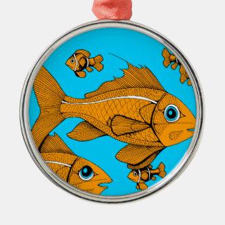Orange fisk rund silverfärgad julgransprydnad