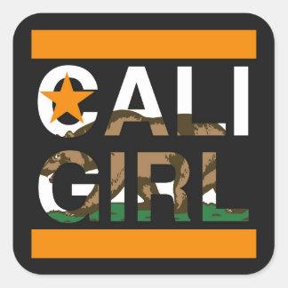 Orange för Cali flickatekniker Fyrkantigt Klistermärke