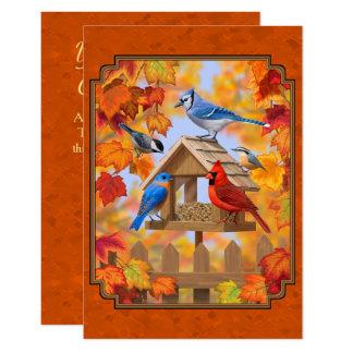 Orange för höst för fågelförlagematare annalkande 8,9 x 12,7 cm inbjudningskort