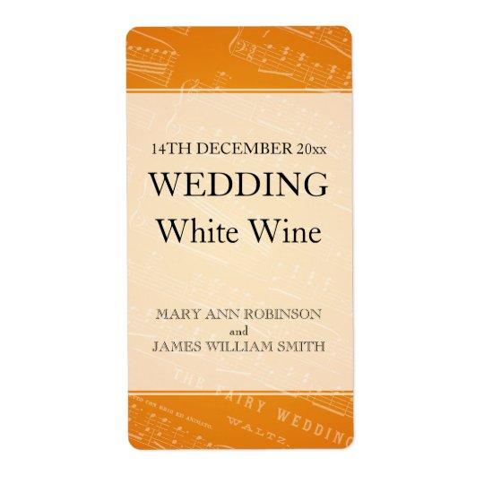 Orange för notblad för elegant bröllopvinetikett fraktsedel