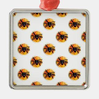 Orange frostat mönster för spindelHalloween kaka Julgransprydnad Metall