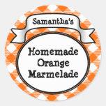 Orange Gingham Marmelade, gelé, syltburk/locketike Runda Klistermärken