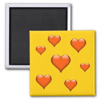 Orange Glass hjärta belagd med tegel anpassade Magnet
