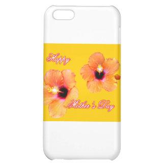 Orange guld bg för lycklig mors daghibiskus MUSEN iPhone 5C Mobil Skydd