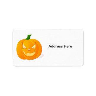 Orange Halloween pumpa Adressetikett