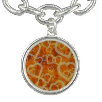 Orange hjärtamallstruktur armband