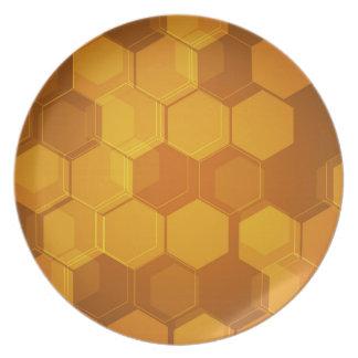 Orange honungskakasexhörningsmönster tallrik