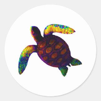 Orange jGibney för sköldpadda de MUSEUMZazzle Runt Klistermärke