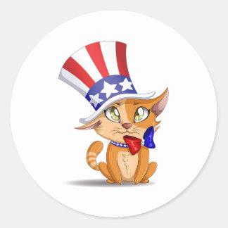 Orange kattunge 4th Juli Runt Klistermärke