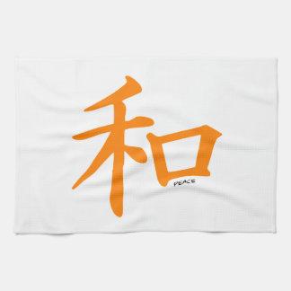 Orange kinesisk fredstecken kökshandduk