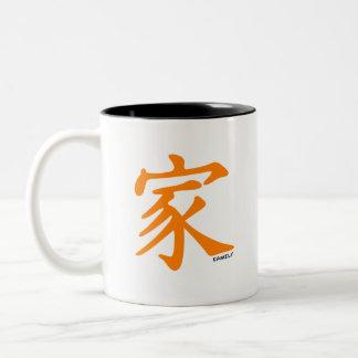 Orange kinesiskt tecken för familj Två-Tonad mugg