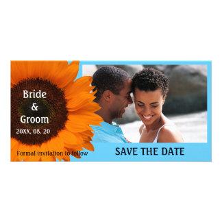 Orange kort för solrosbröllop spara datumfoto