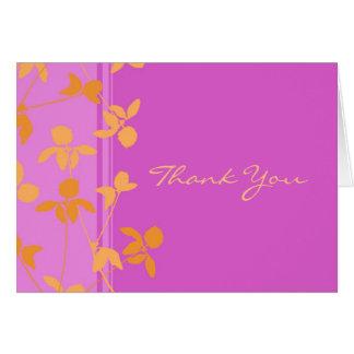 Orange kort för tack för rosamönsterbröllop