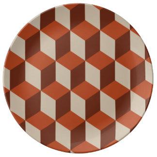 Orange kuber porslinstallrik
