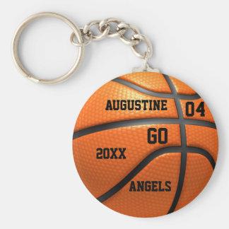 Orange läder Keychain för basket med namn Rund Nyckelring